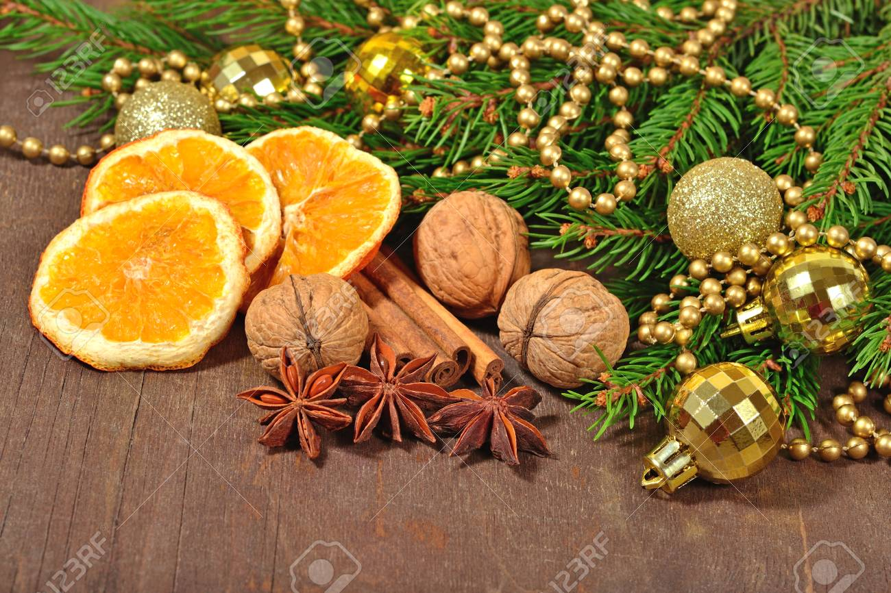 Different Kinds Of Spices Nuts And Dried Oranges Christmas Stock