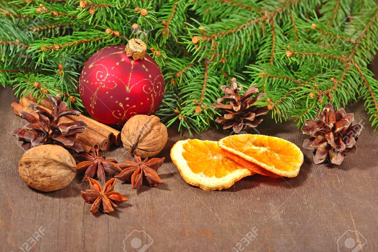 Different Kinds Of Spices Nuts Cones And Dried Oranges Christmas
