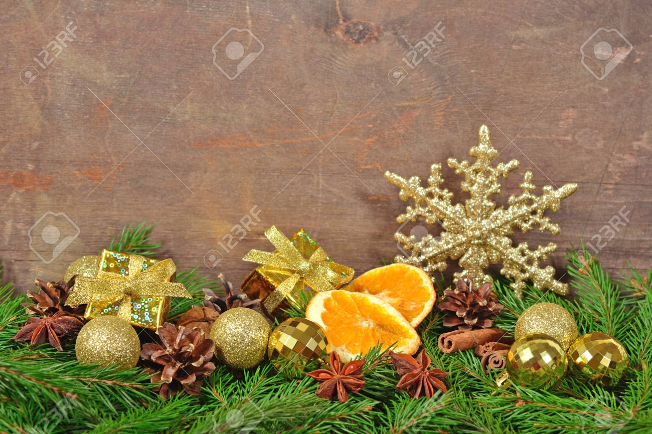 Different Kinds Of Spices Cones And Dried Oranges Christmas