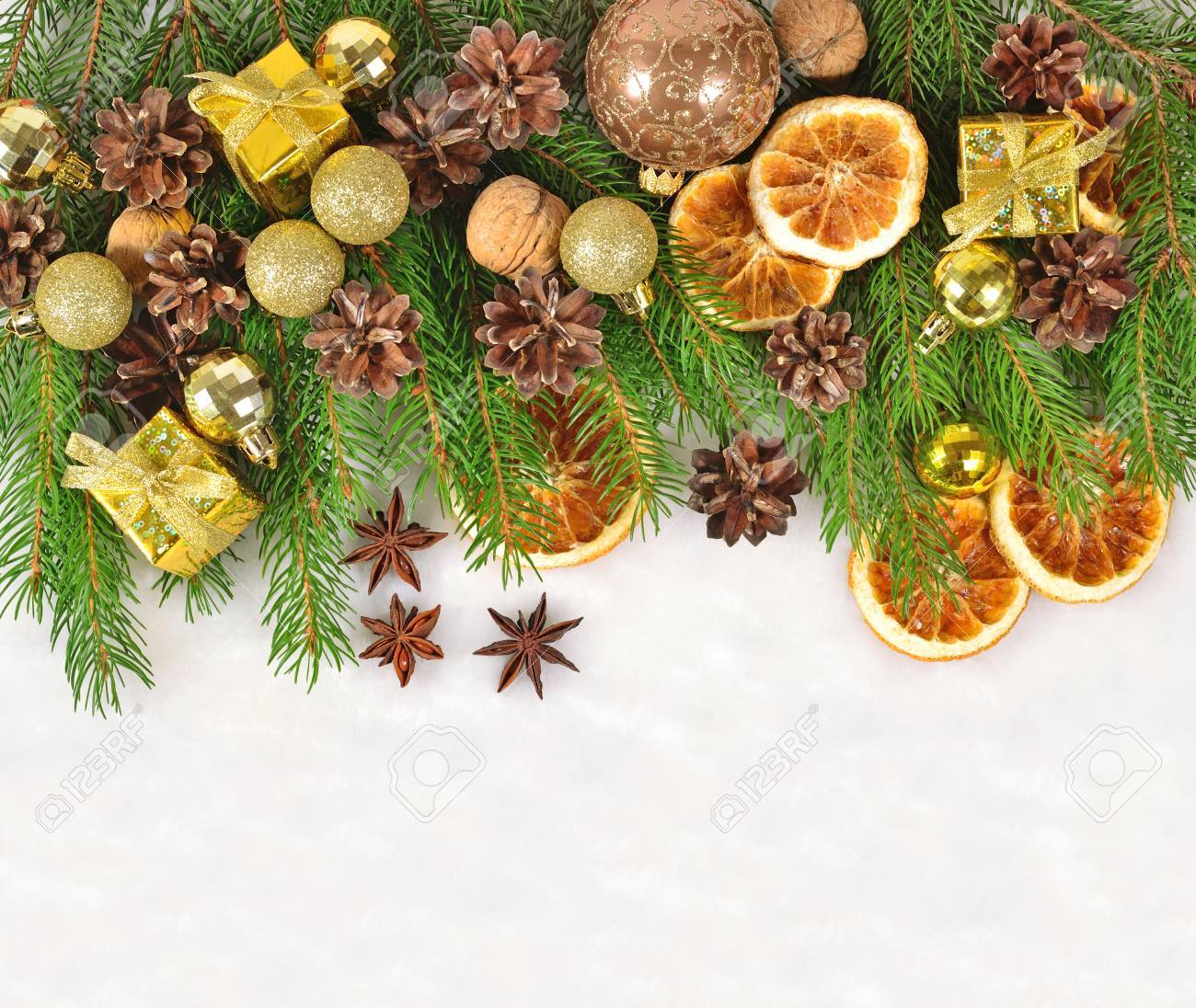 Dried Oranges And Cones, Christmas Decorations And Spruse Branch ...