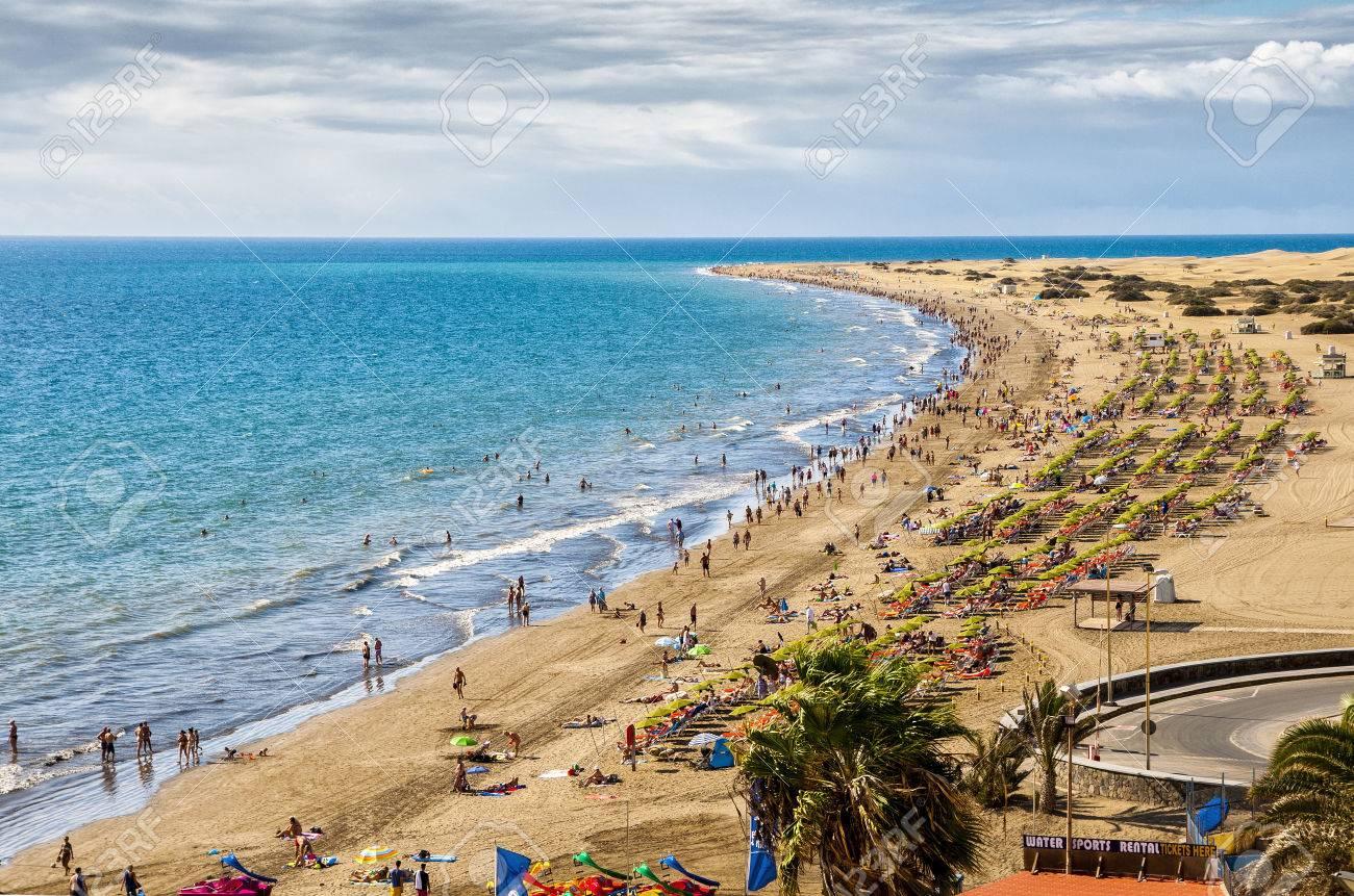 English Beach On The Island Of Gran Canaria In Maspalomas Dunes Beside Stock Photo