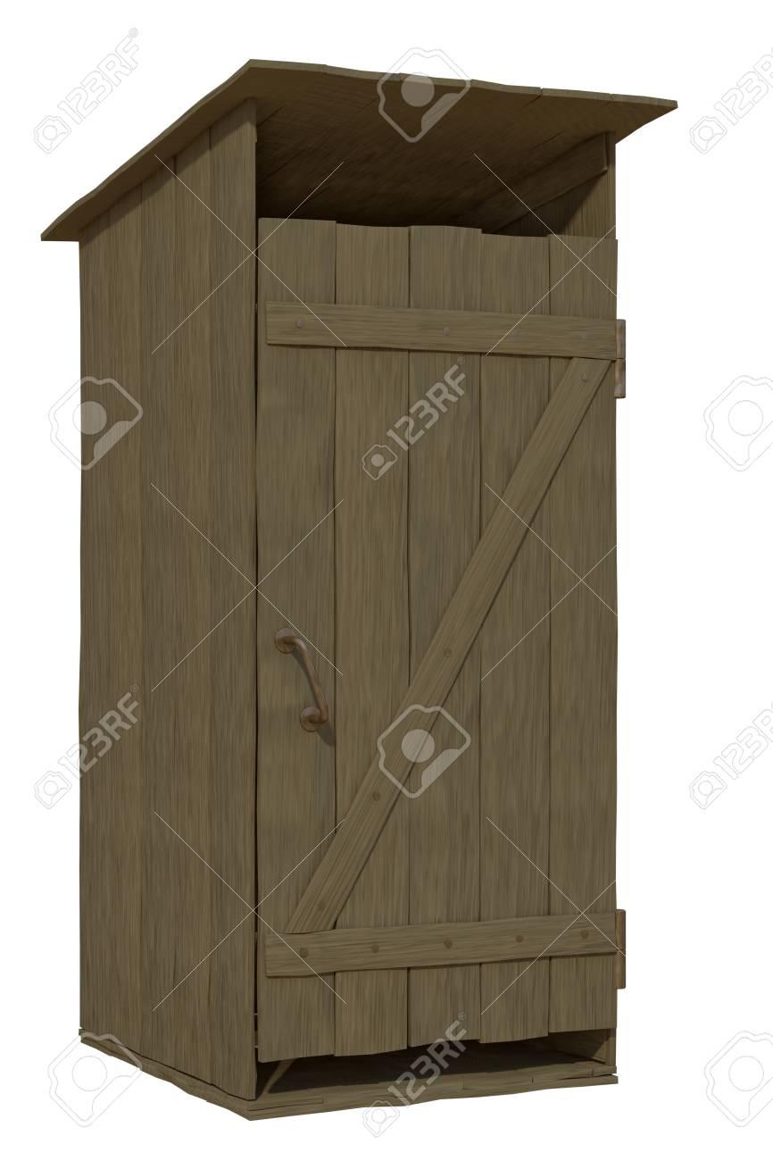 wooden toilet on a white background Stock Photo - 23359265