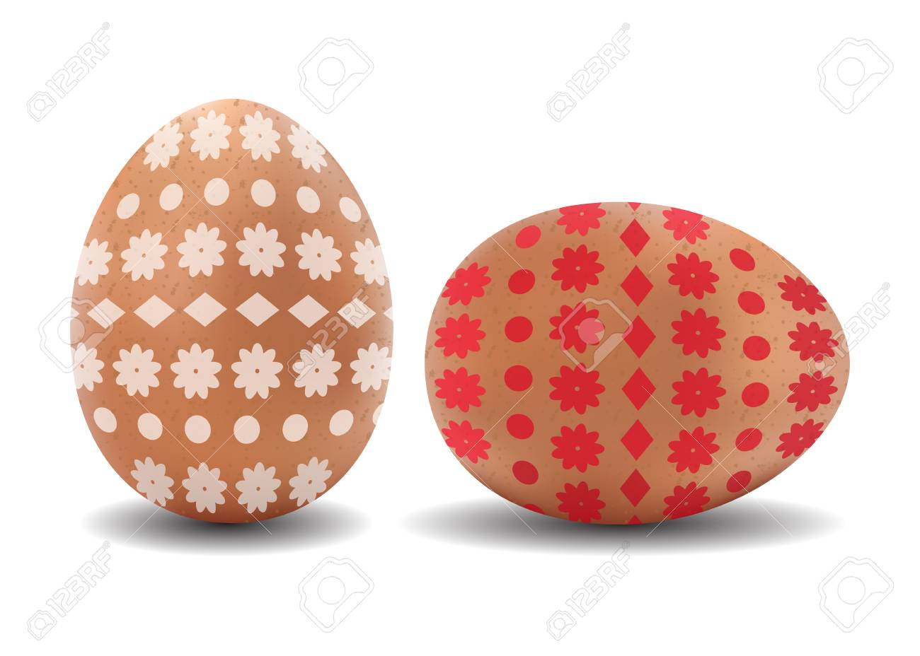 Two 3d Isolated Vector Realistic Brown Easter Eggs With Pattern On White Background Stock