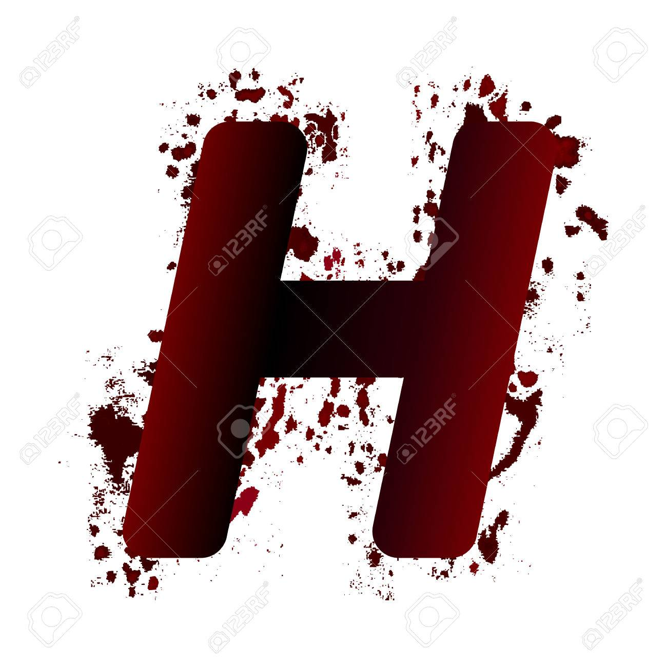 H Letter Images.Dirty Bloody Letter H With Spots Grunge Alphabet Scary Letters