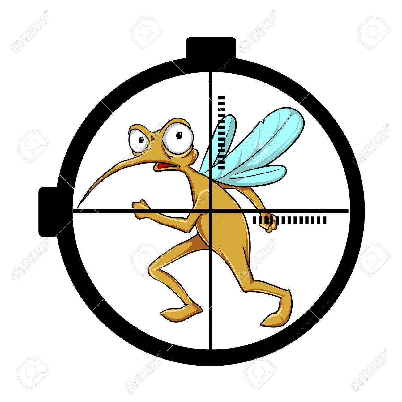 Scared mosquito on target Stock Vector - 9131421