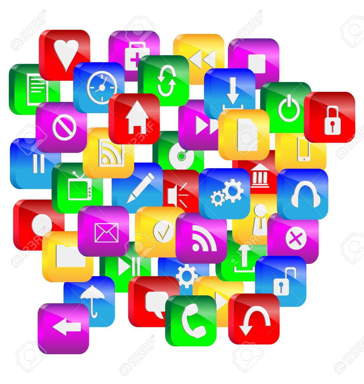 Abstraction consisting of a set of colorful 3d glass buttons and icons for designers for various necessities Stock Photo - 16960122
