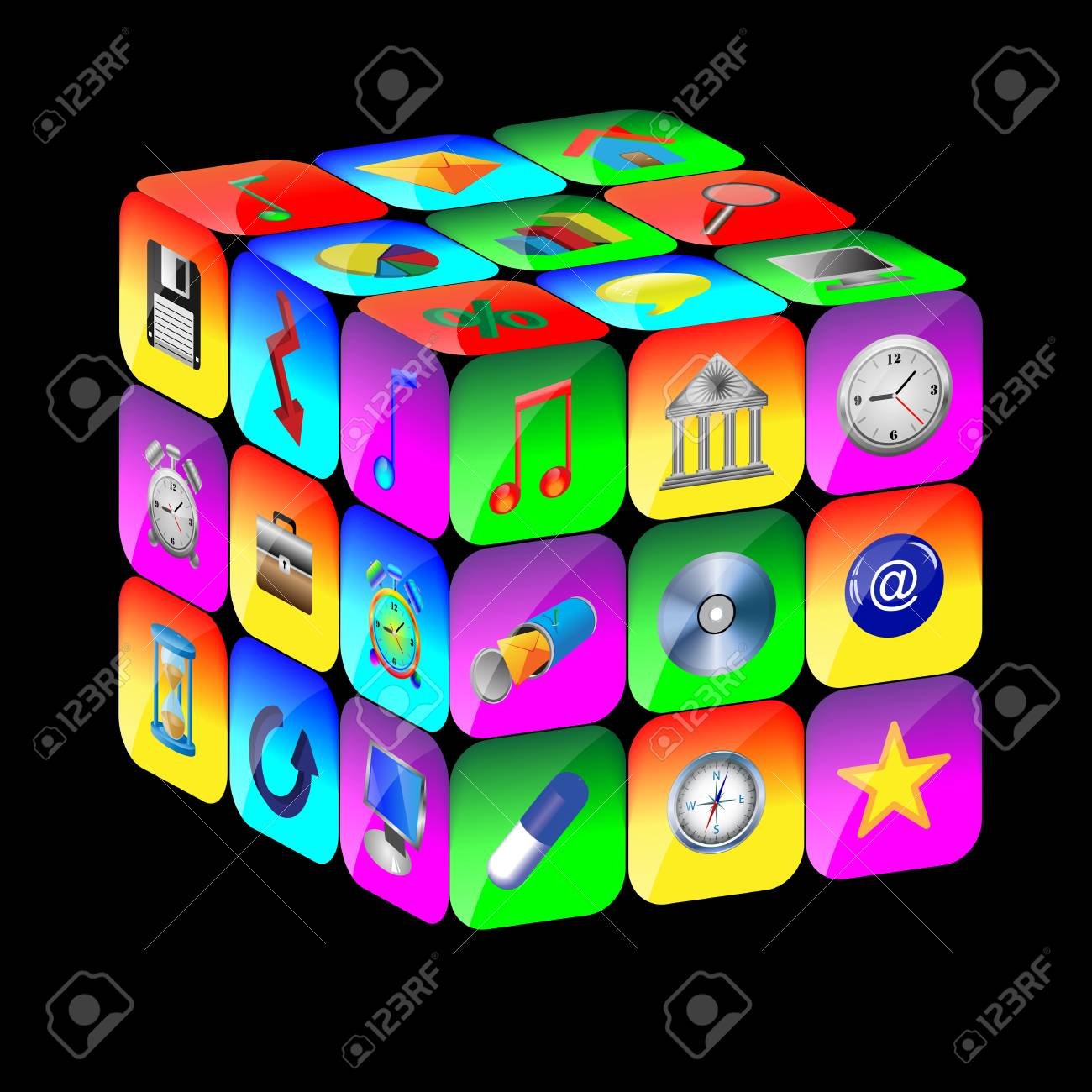 Abstract cube consisting of a set of colored icons for designers for various necessities Stock Photo - 17015417