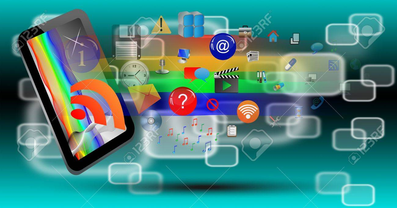 Abstraction which depicts a tablet from which emerge a number of different web icons Stock Photo - 17015454