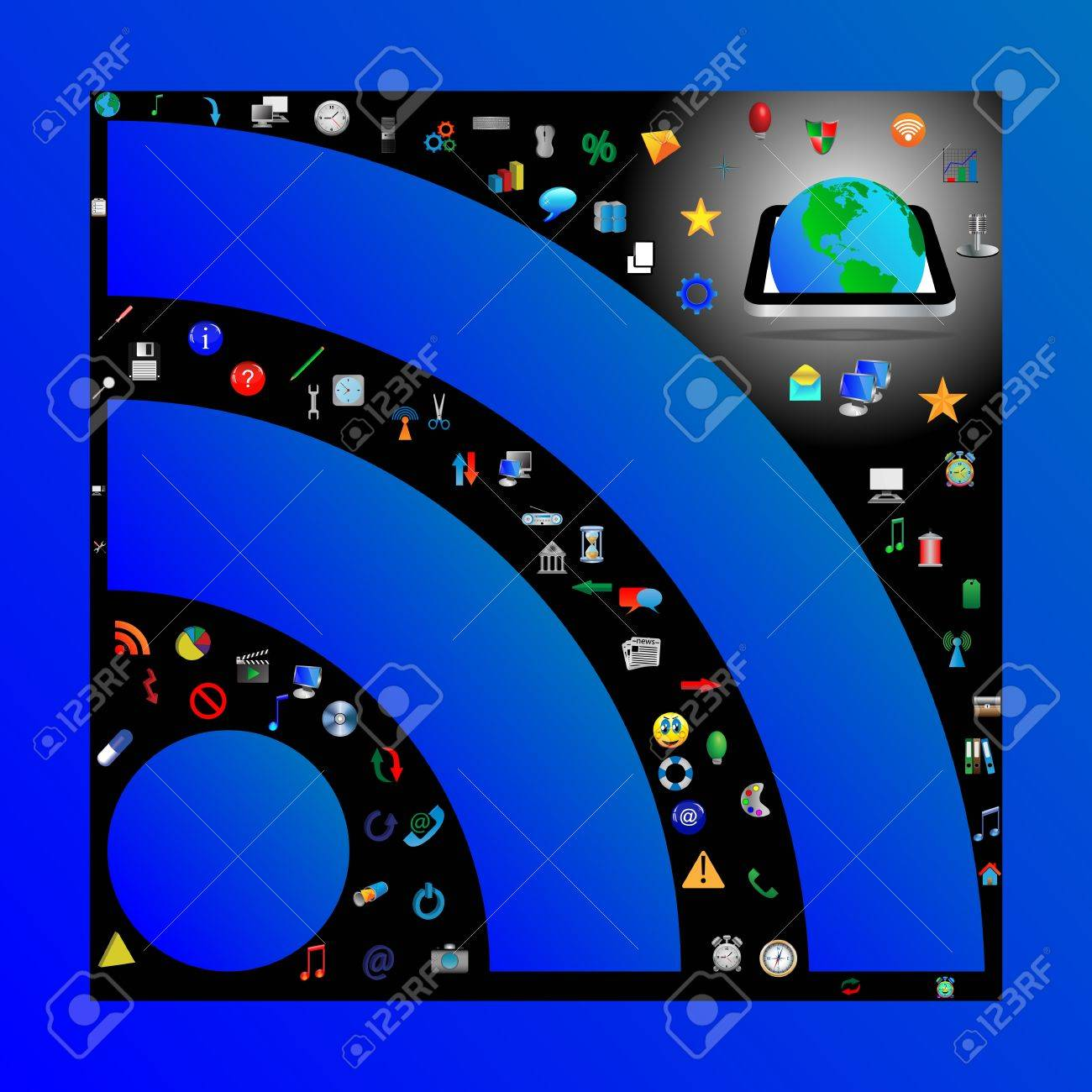 Composition in which the symbol of RSS c different web icons for designers for various necessities Stock Photo - 17015437