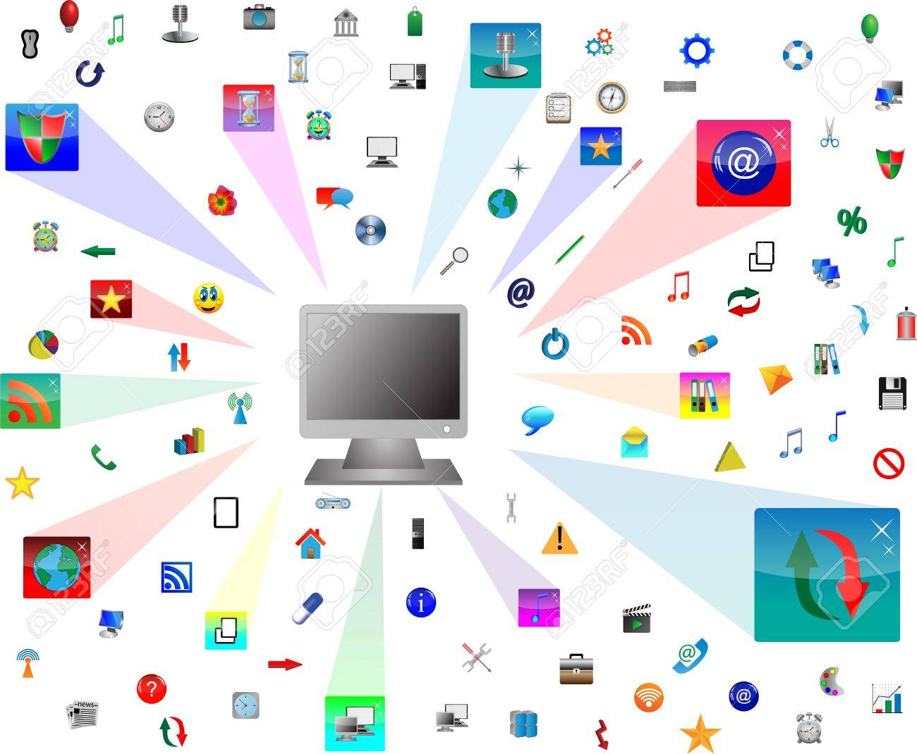 Abstract computer which shows the monitor and web icons  for designers for various necessities Stock Vector - 17035001