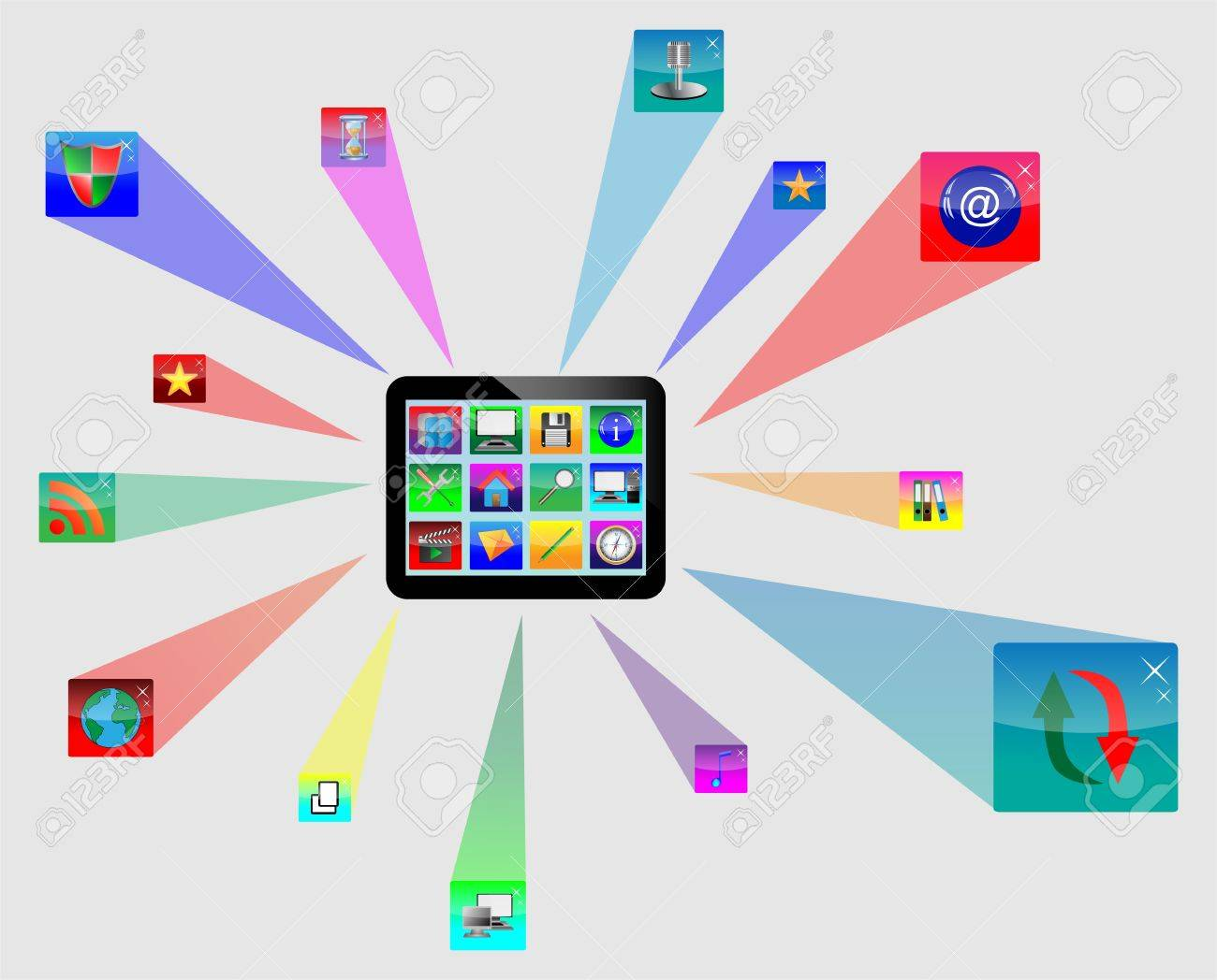 Abstract tablet with colored icons for designers for various necessities Stock Vector - 17033503
