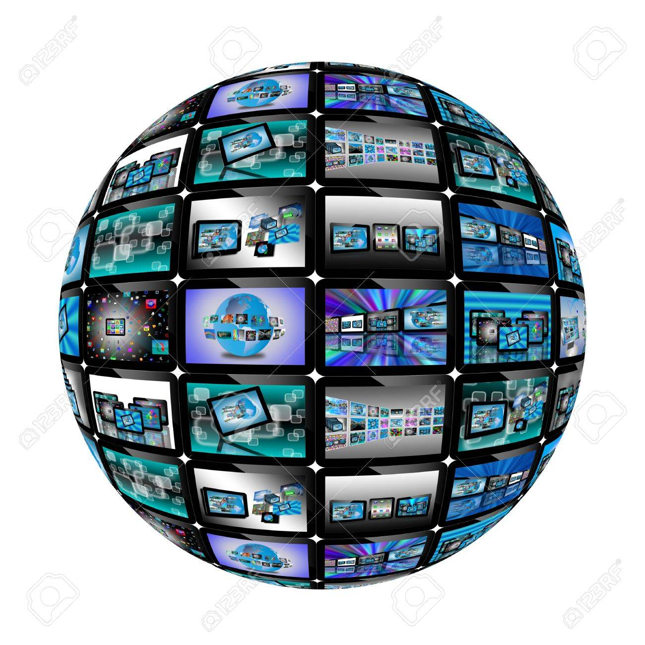 Abstraction which depicts a sphere consisting of a set of tablets with different images for designers for various necessities Stock Photo - 17687486