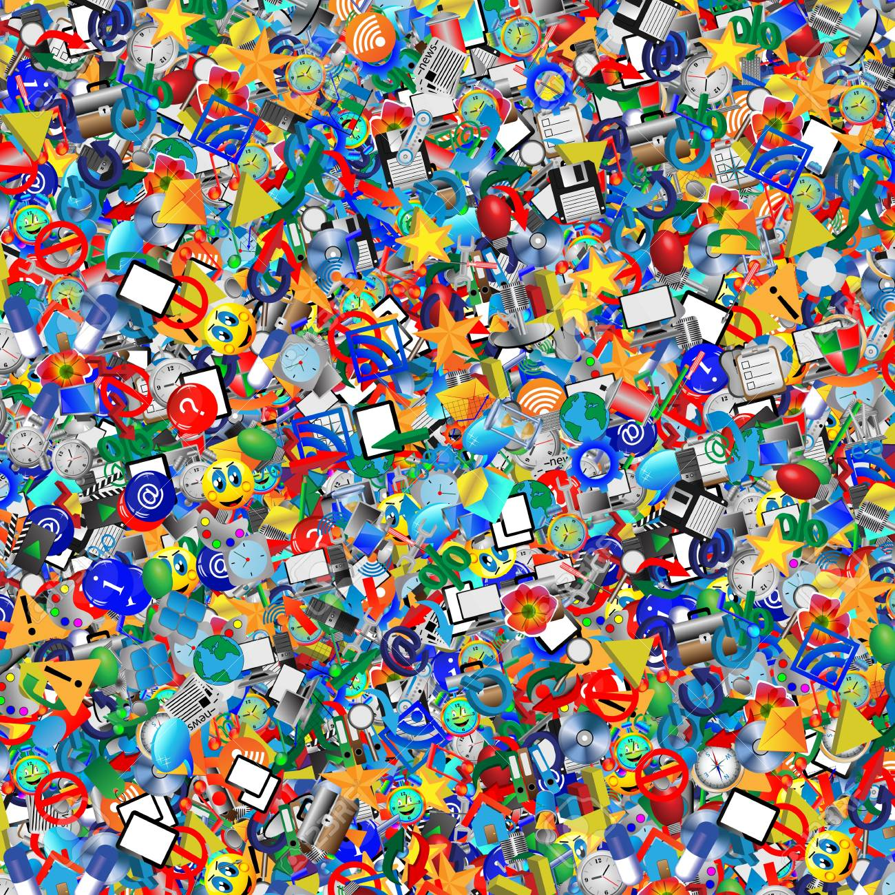 Background of randomly distributed colored icons for web designers for various necessities Stock Photo - 18320659