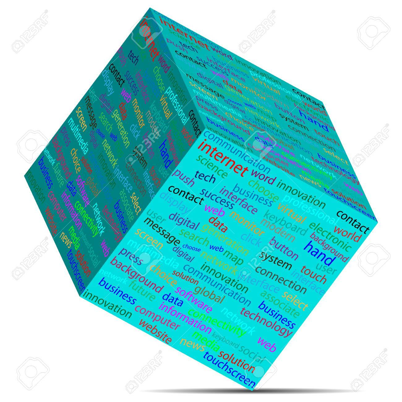 Cube with different words on the faces of designers for various necessities Stock Vector - 19622705