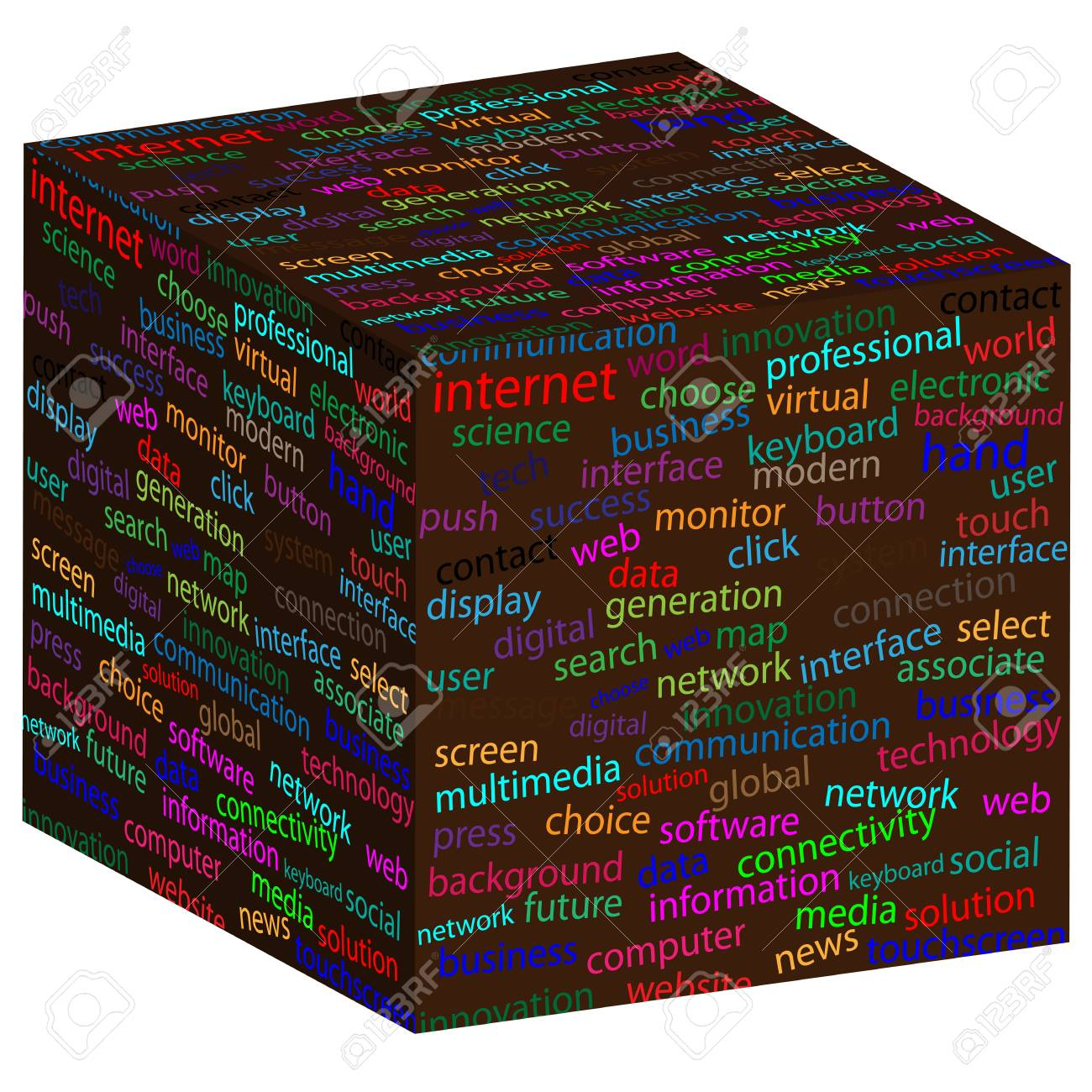 Cube with different words on the faces of designers for various necessities Stock Vector - 19622719