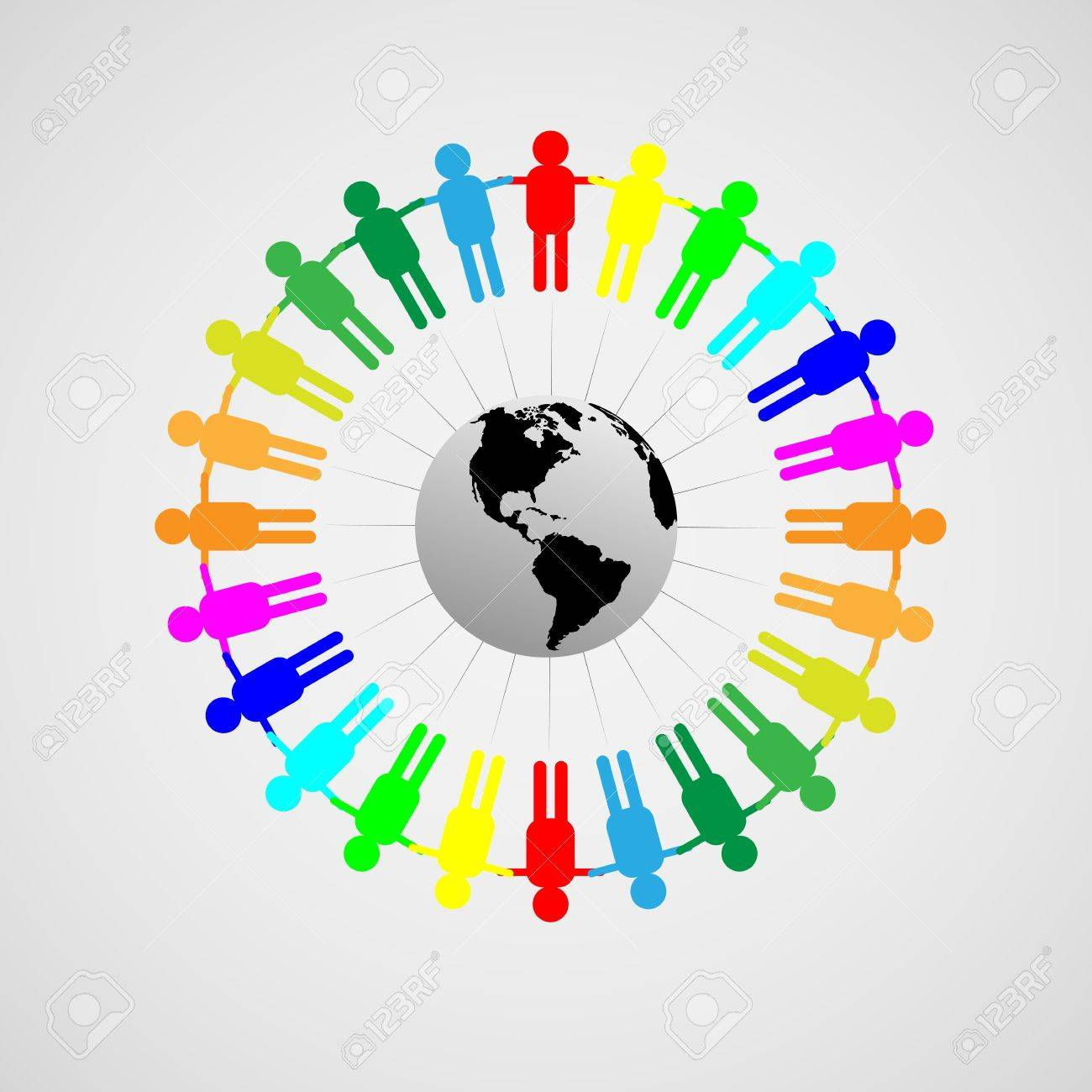 Abstract composition symbolizing world peace and friendship of all people throughout the world Stock Vector - 19760355