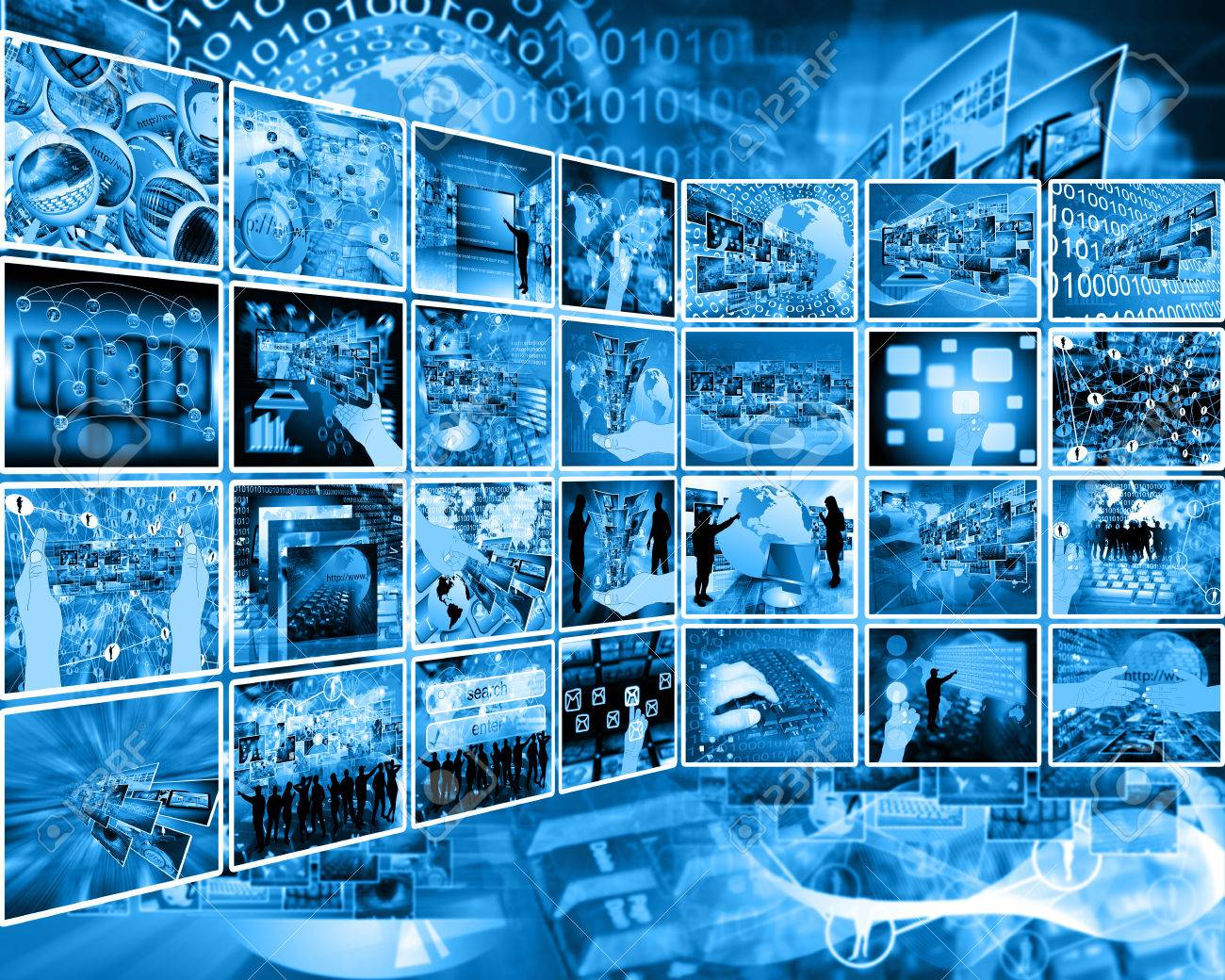 Abstract composition which shows a variety of different images on the theme of computers and high technology. Stock Photo - 25193906