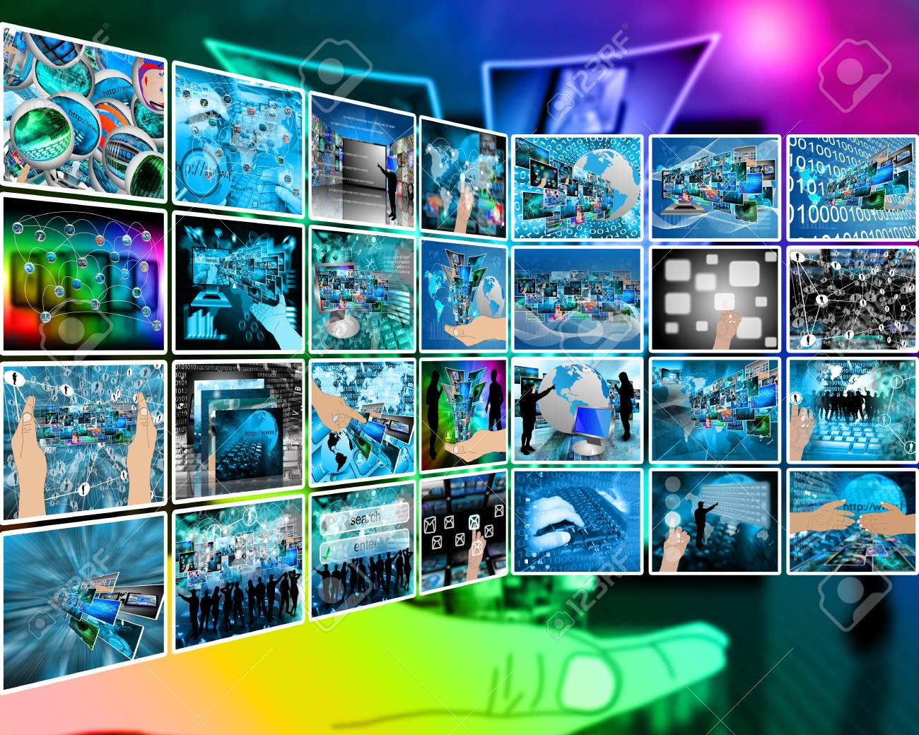 Abstract composition which shows a variety of different images on the theme of computers and high technology. Stock Photo - 25183474