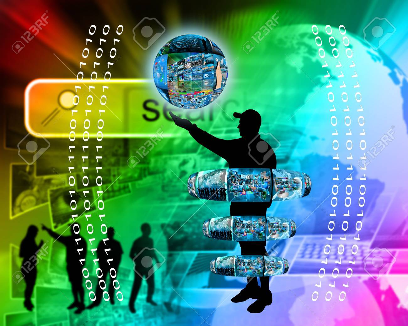 Internet and high technology surrounds mankind everywhere, and from all sides. Stock Photo - 25256697