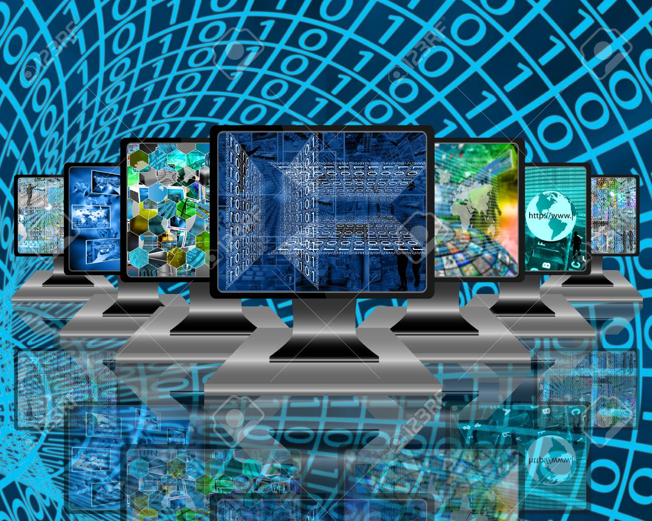 seven monitors with images on the theme of the internet and high
