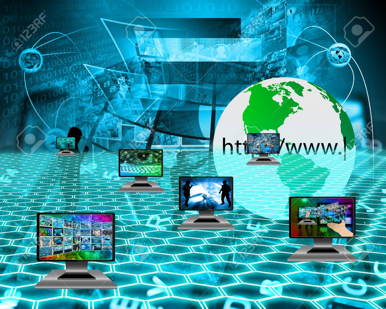 six monitors with images on the theme of the internet and high tech