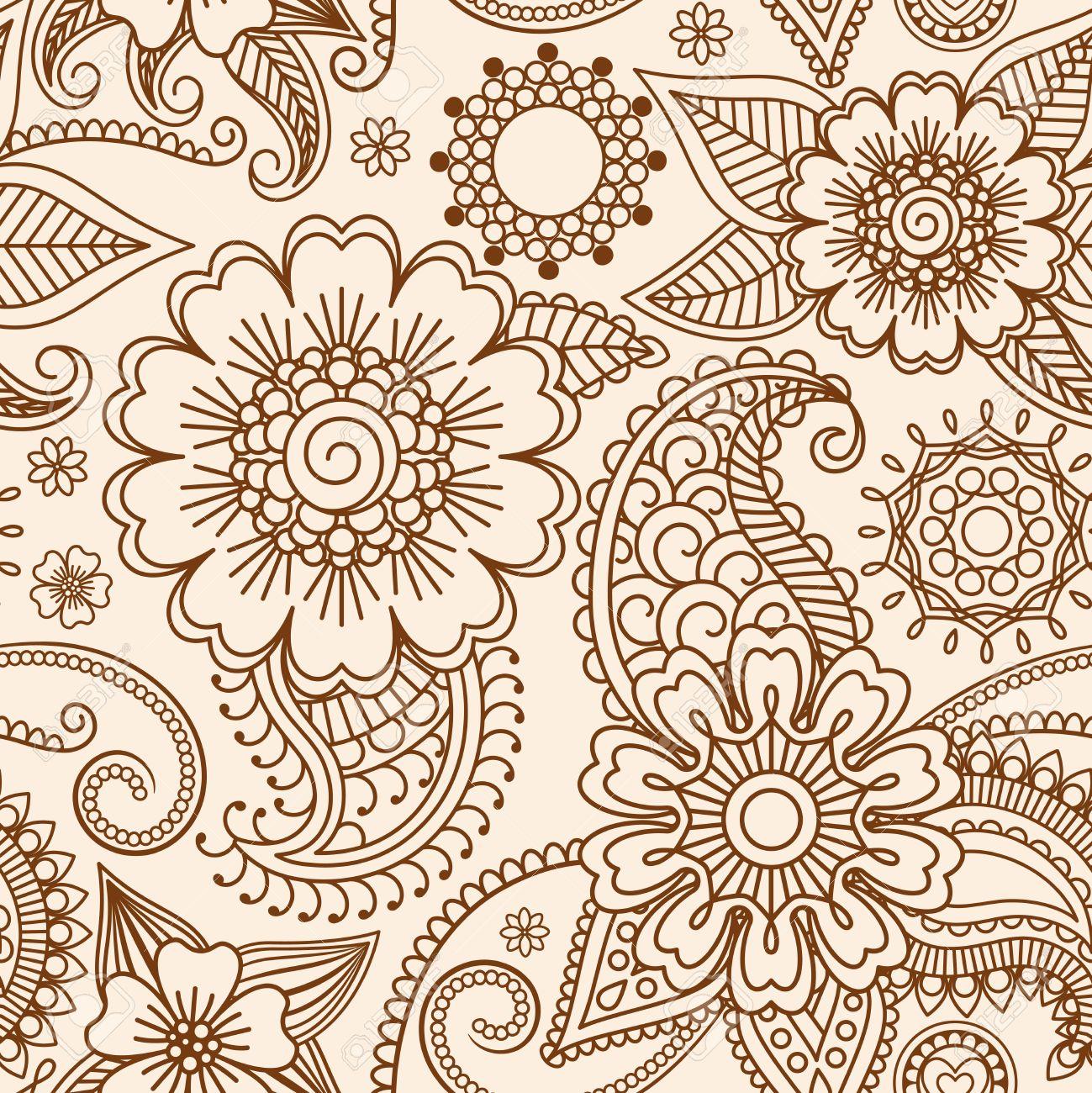 Henna Mehndi Tattoo Doodle Seamless Pattern Background Royalty Free