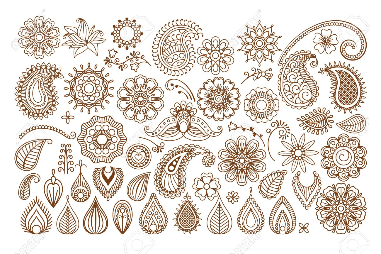 Henna Tattoo Doodle Vector Elements On White Background Royalty Free