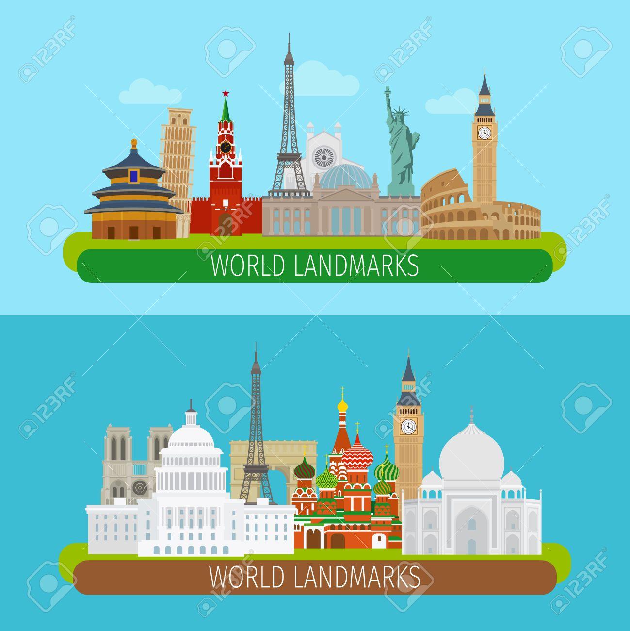 World landmarks banners or travel postcards vector illustration