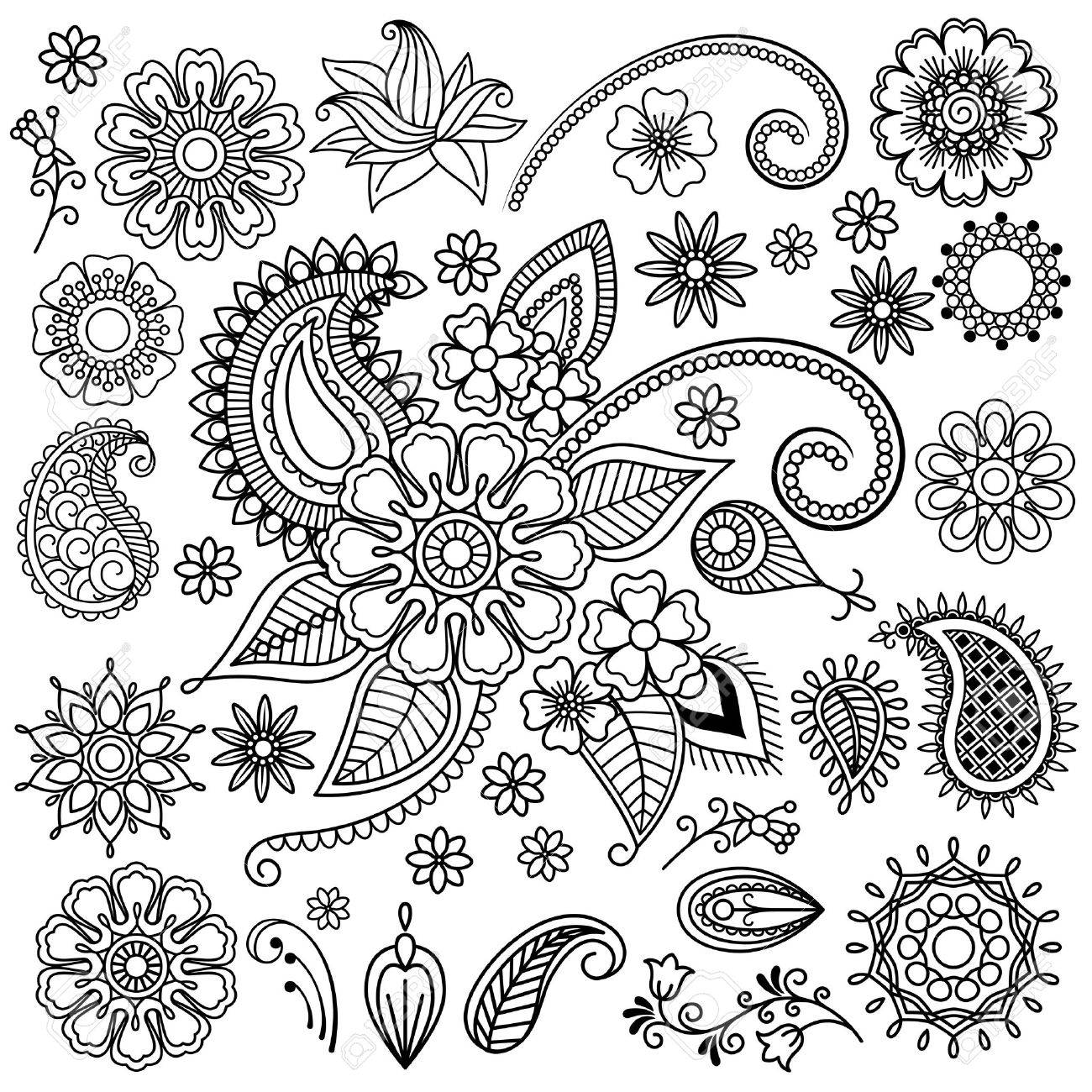 Henna 6x8 FT Photo Backdrops,Flowers and Paisley Pattern Doodles in Various Shapes and Designs Monochrome Image Background for Photography Kids Adult Photo Booth Video Shoot Vinyl Studio Props