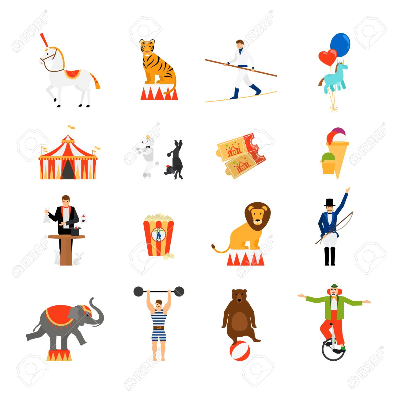 Circus Vector Flat Icons. Striped Tent And Tickets, Magician ...