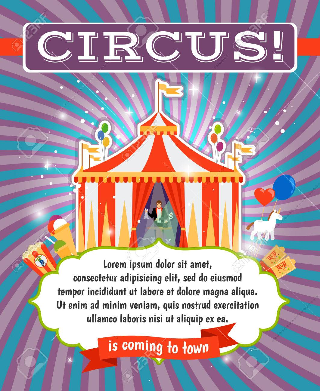 Vintage Circus Carnival Or Fun Fair Vector Poster Template Royalty