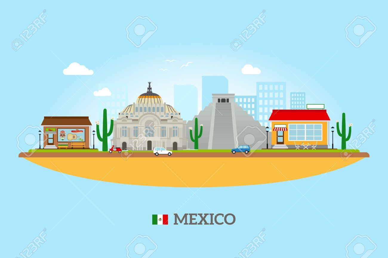 Mexico landmarks skyline mexican tourist attractions vector mexico landmarks skyline mexican tourist attractions vector illustration stock vector 43466363 sciox Gallery
