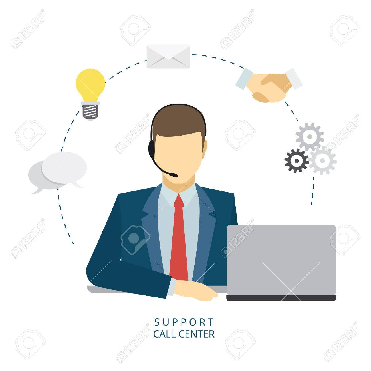 Technical support man operator flat vector icon - 43593185