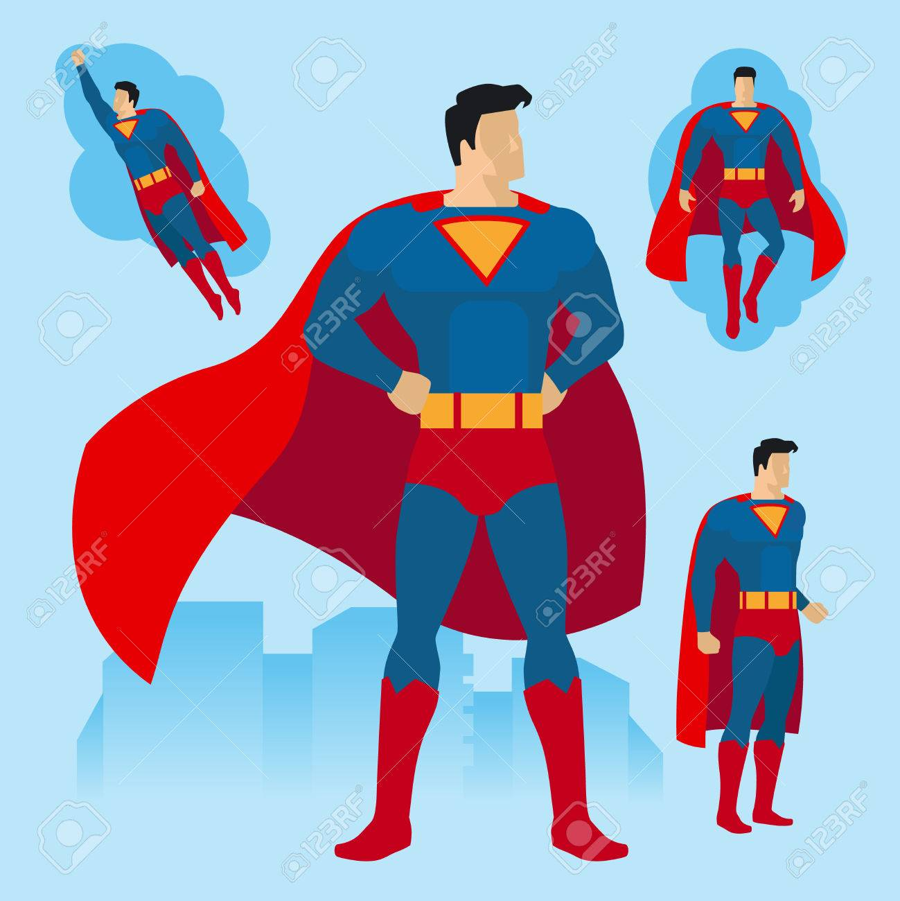 Superhero in different poses  Flying superhero with cape  Vector