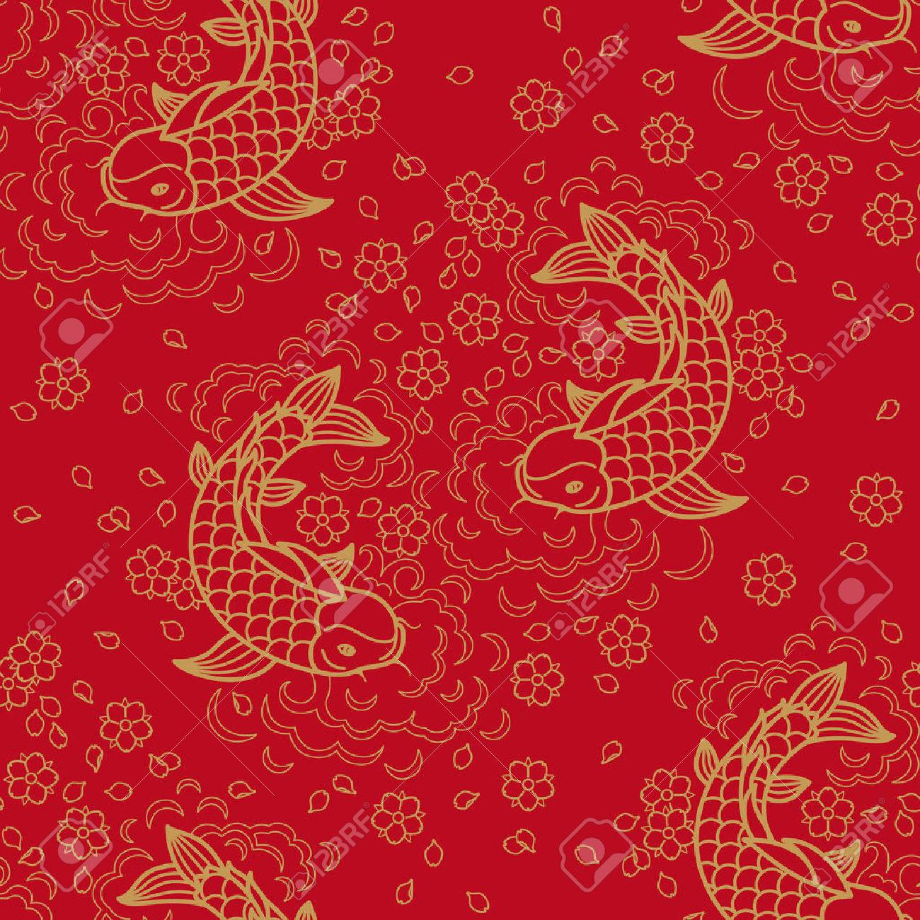 chinese vector seamless pattern with koi fish royalty free cliparts