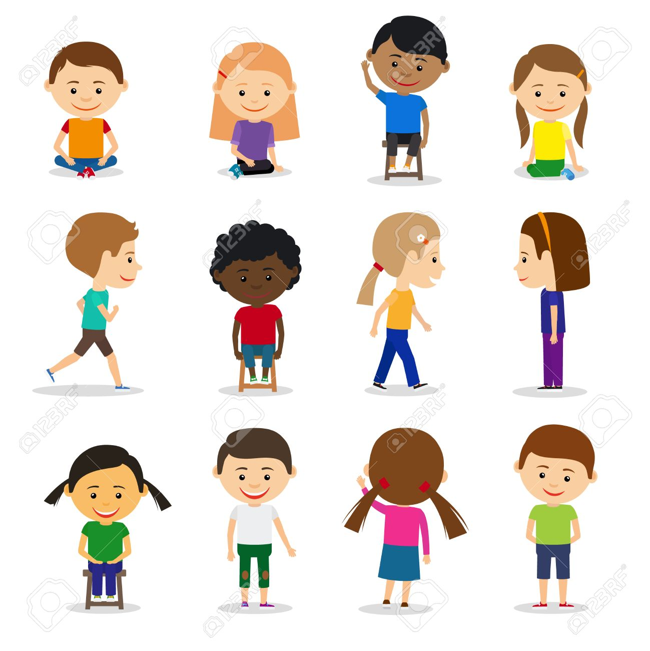 cute kids characters in different position vector set in flat
