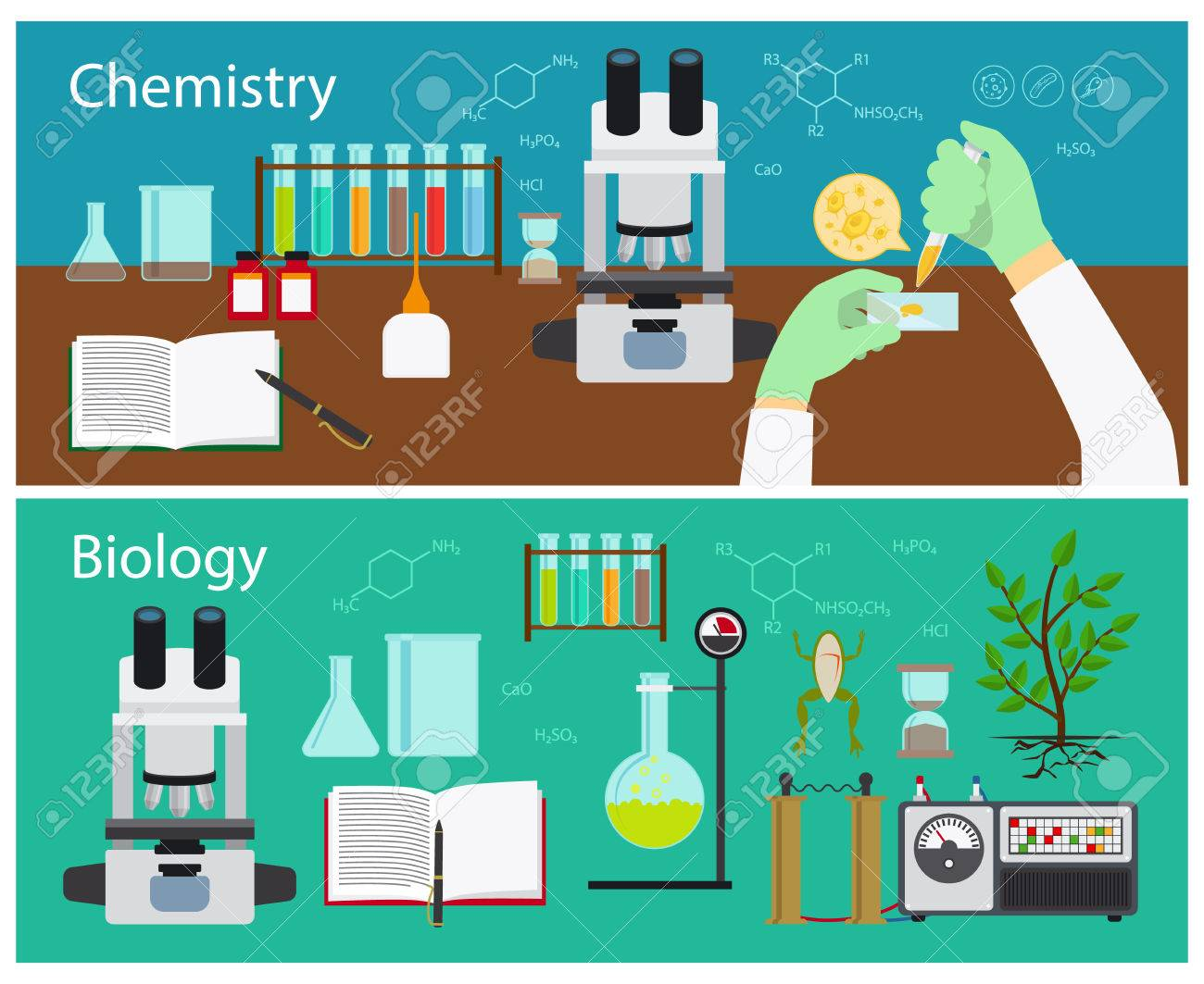 Chemistry and biology research vector banners set - 48096299