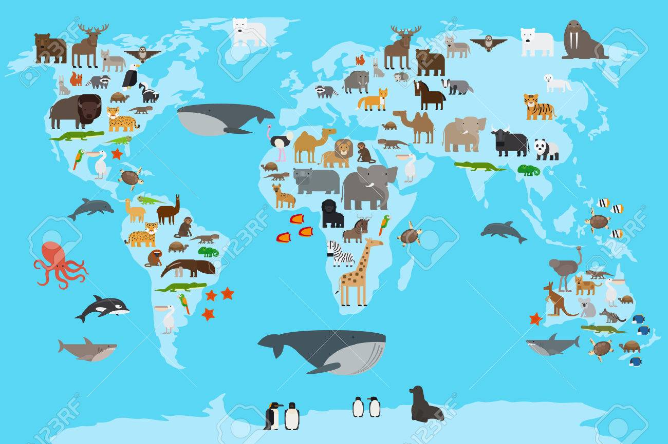 Animals world map animals living in different parts of the planet animals world map animals living in different parts of the planet guide vector illustration gumiabroncs Gallery