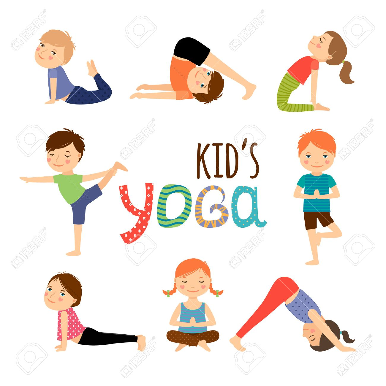 Yoga Kids Set Gymnastics For Children And Healthy Lifestyle