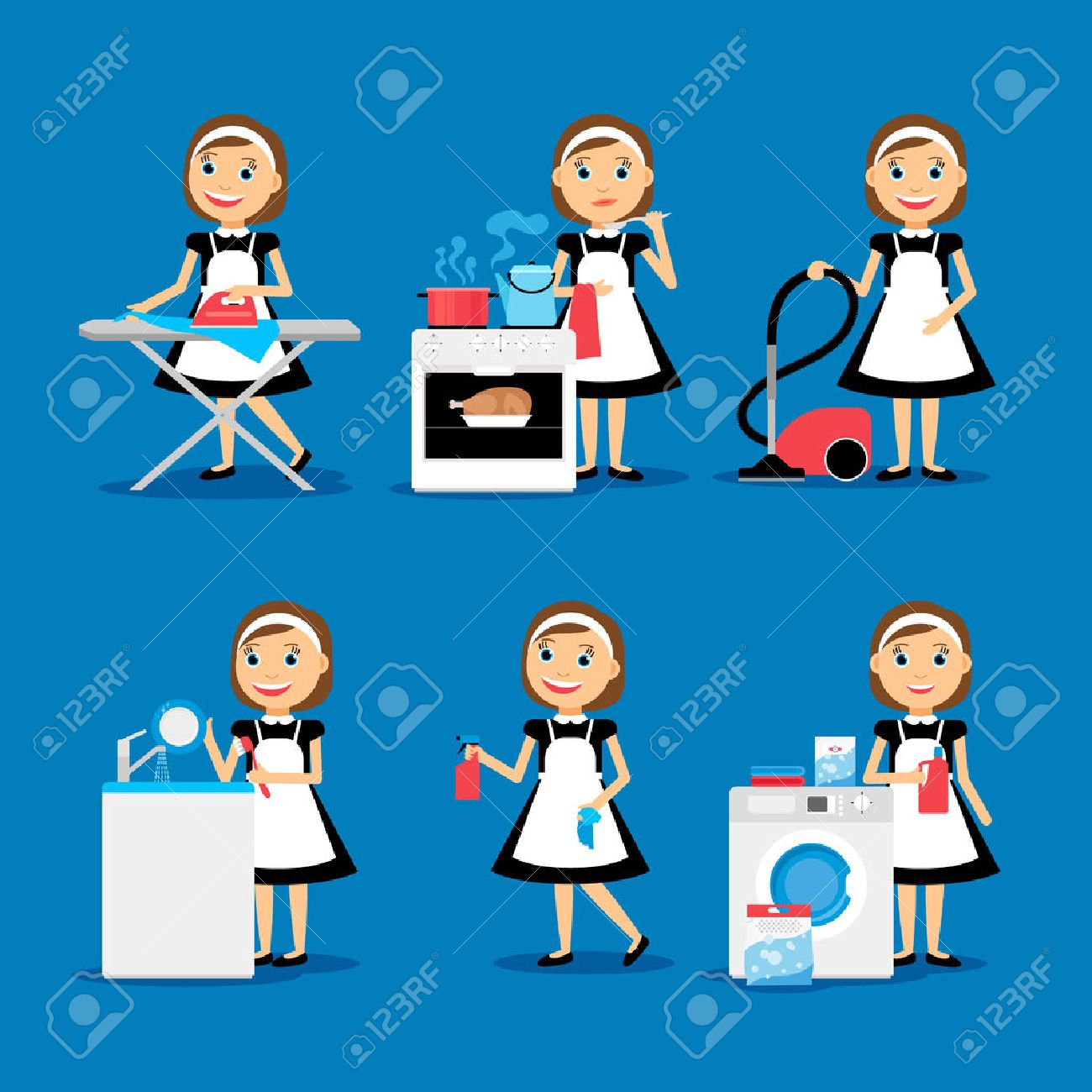 Multitasking housewife Vector illustration. Housekeeper woman ironing, cleaning, cooking and washing - 50582165