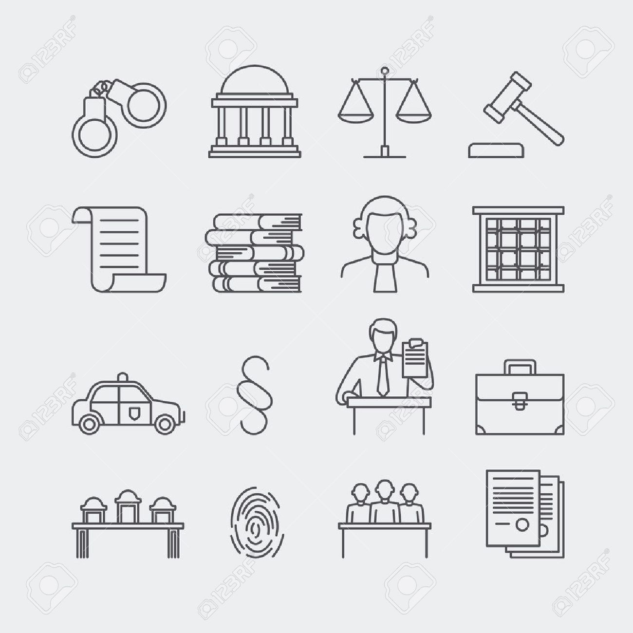 Law and justice thin line vector icons. The legal system, judge, police and lawyer - 50897228