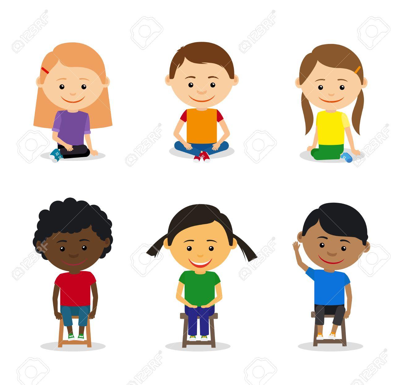 Kinder sitzen im kreis clipart  Kleine Kinder Sitzen Auf Dem Boden Und Kinder Sitzen Auf Stühlen ...