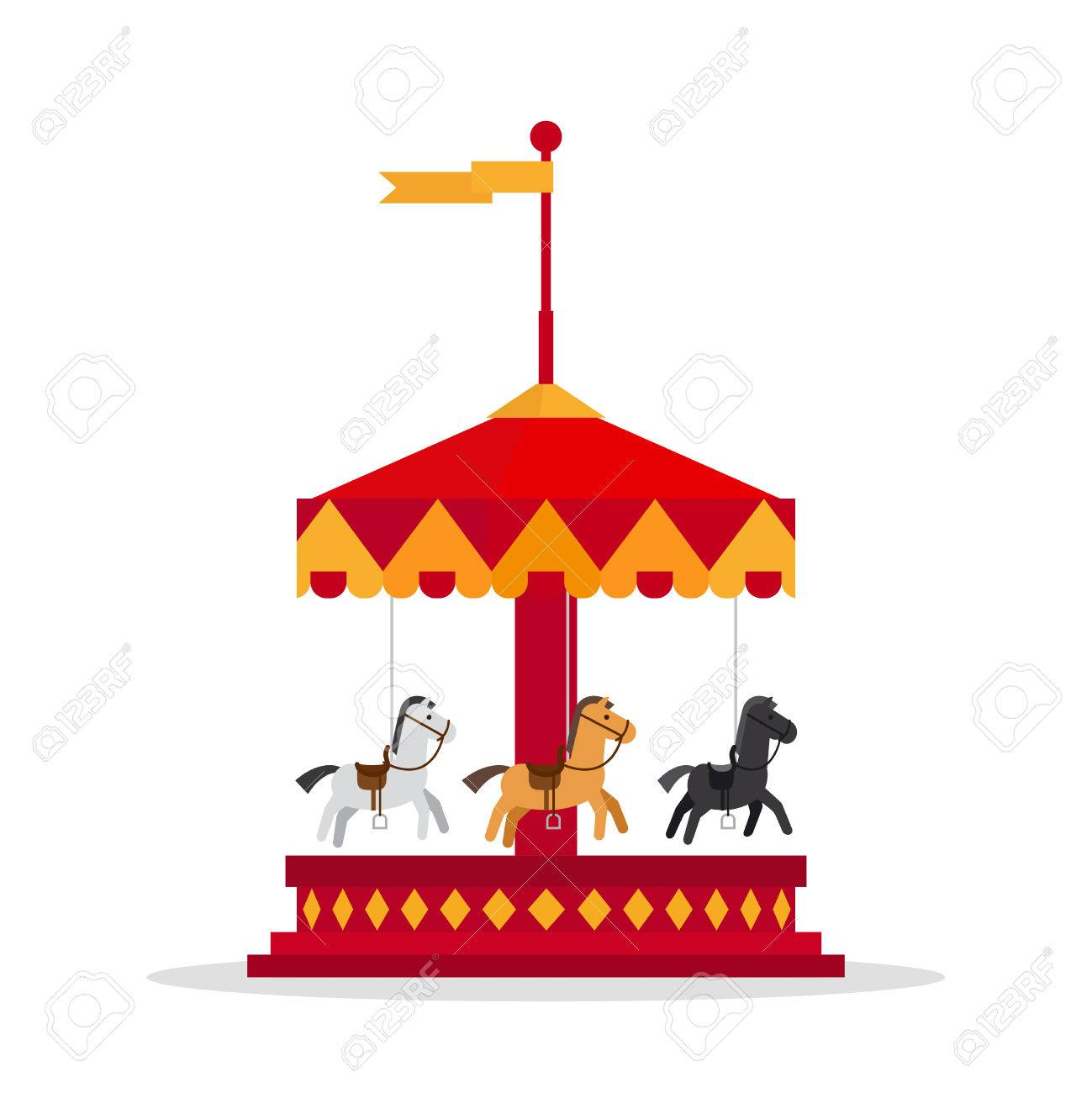 kids carnival carousel in flat style merry go round vector