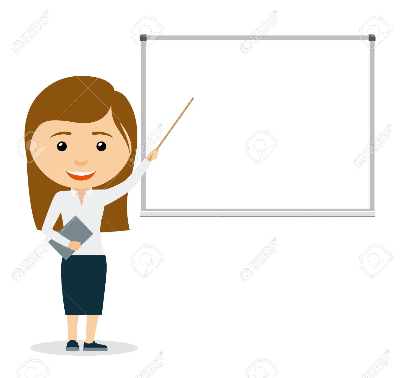 young business woman giving a presentation pointing at whiteboard