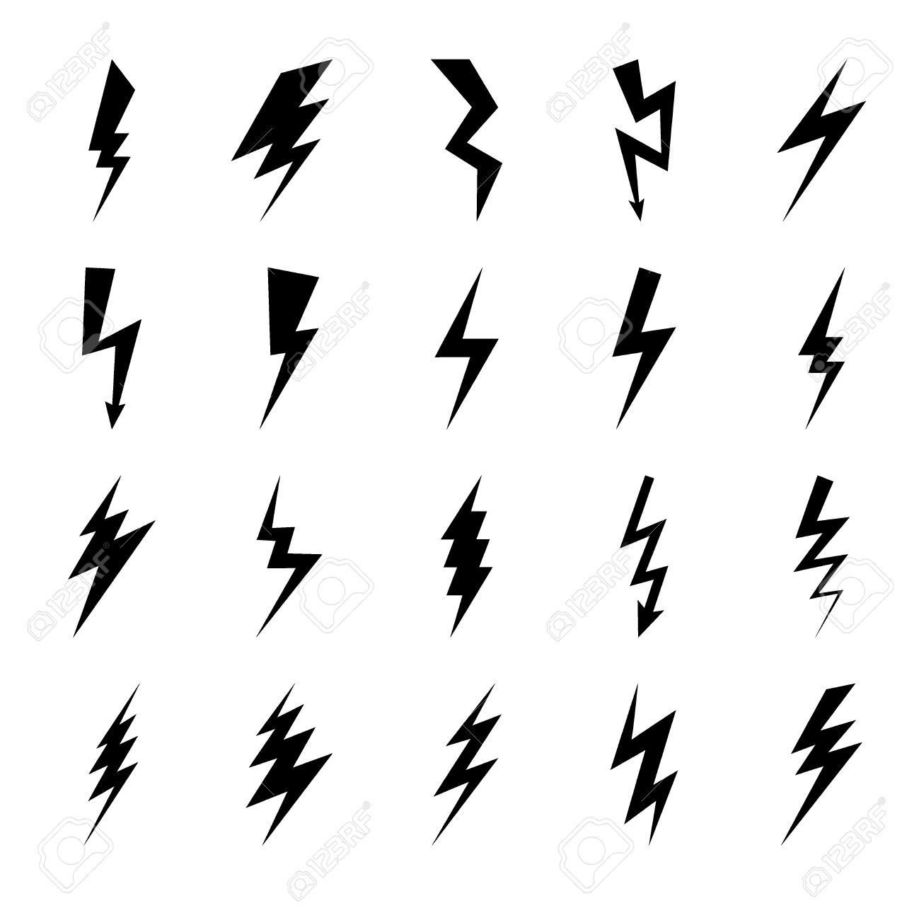 lightning bolt icons black thunder lightings on white background royalty free cliparts vectors and stock illustration image 51746632 lightning bolt icons black thunder lightings on white background