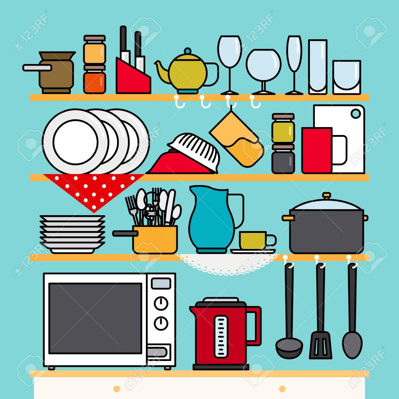 Kitchen Shelves With Cooking Utensils. Vector Kitchen Utensils ...