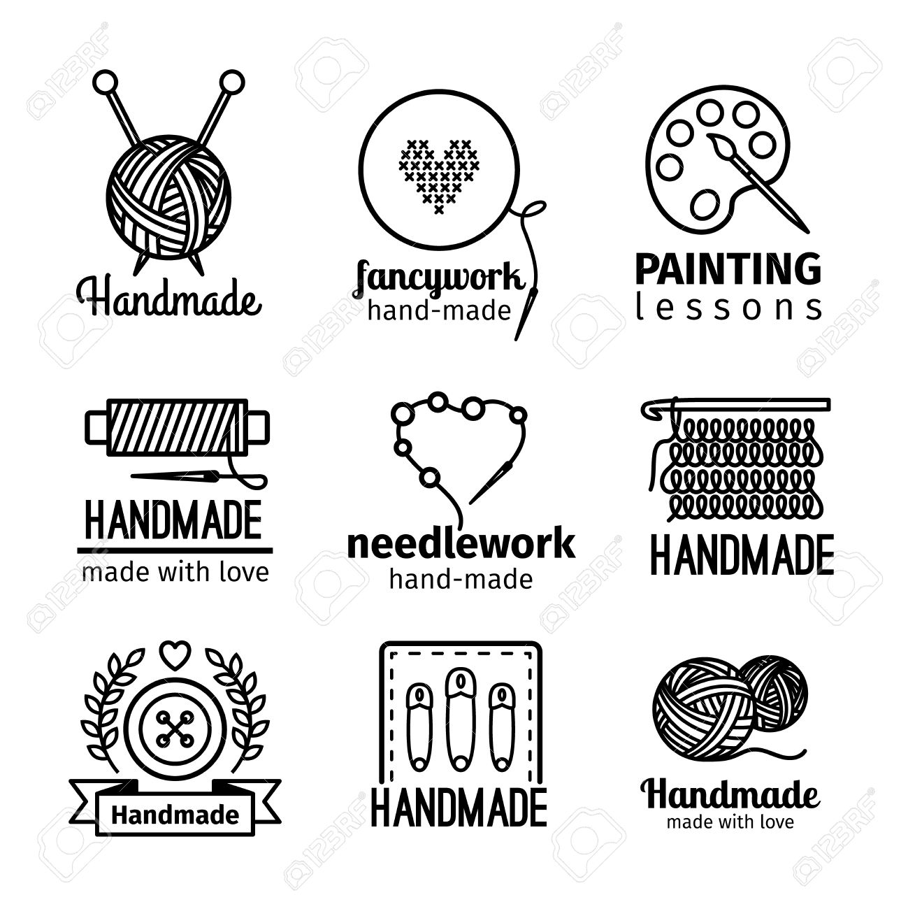 handmade black thin line icons on white background handmade