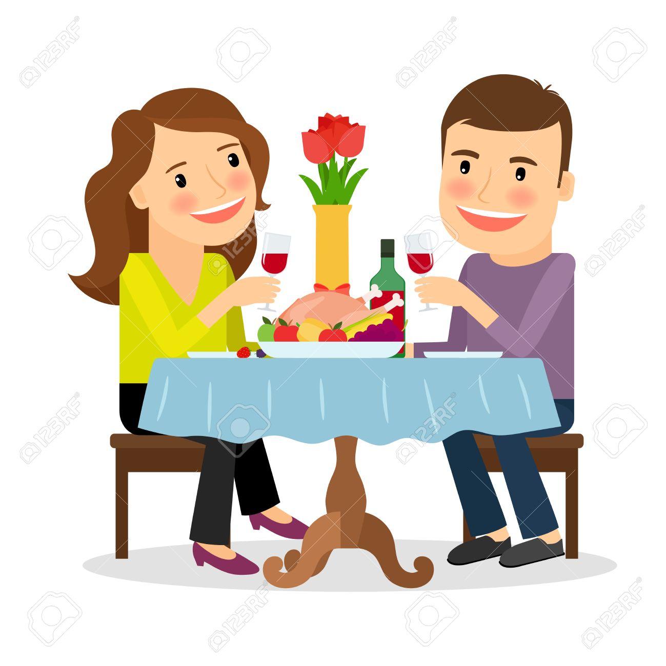 Couple having dinner in a restaurant. Romantic date colorful icon on white background. Vector illustration Foto de archivo - 53435121