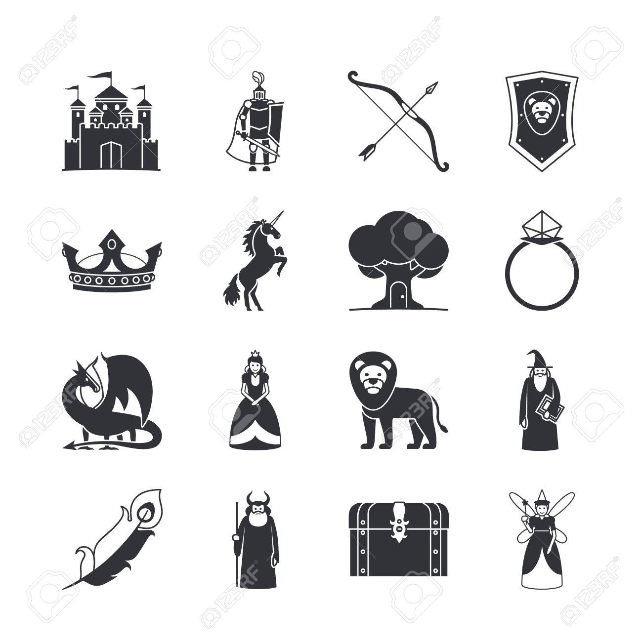 fairytale icons or fantasy icons castle and sword knight and
