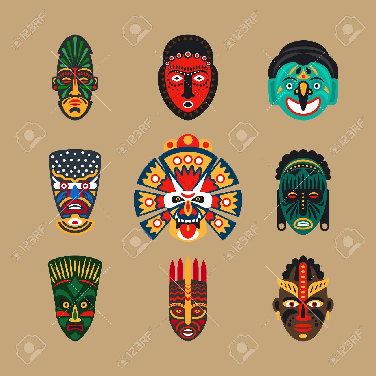 pas de taxe de vente boutique officielle artisanat de qualité Icônes de masque ethniques ou des masques plats incas. Tribal ethnique  masques illustration